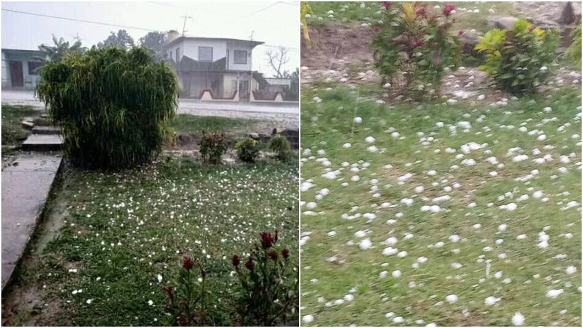 Imágenes de la lluvia de granizo en el municipio de Cabaiguán en Sancti Spíritus