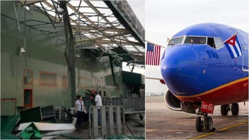 Cancelan vuelos a Cuba por la fuerte tormenta que destruyó el aeropuerto de Santa Clara