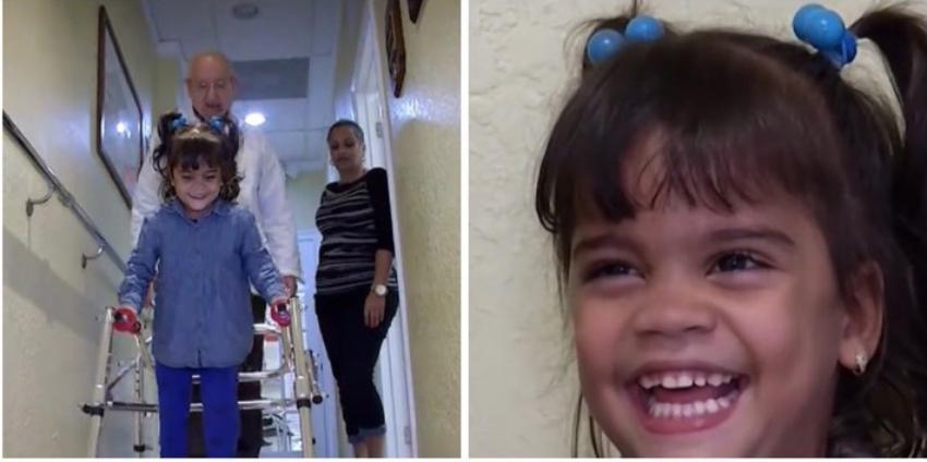 Alexa la niña cubana que llegó a Miami sin sus piernas, ya está dando sus primeros pasos