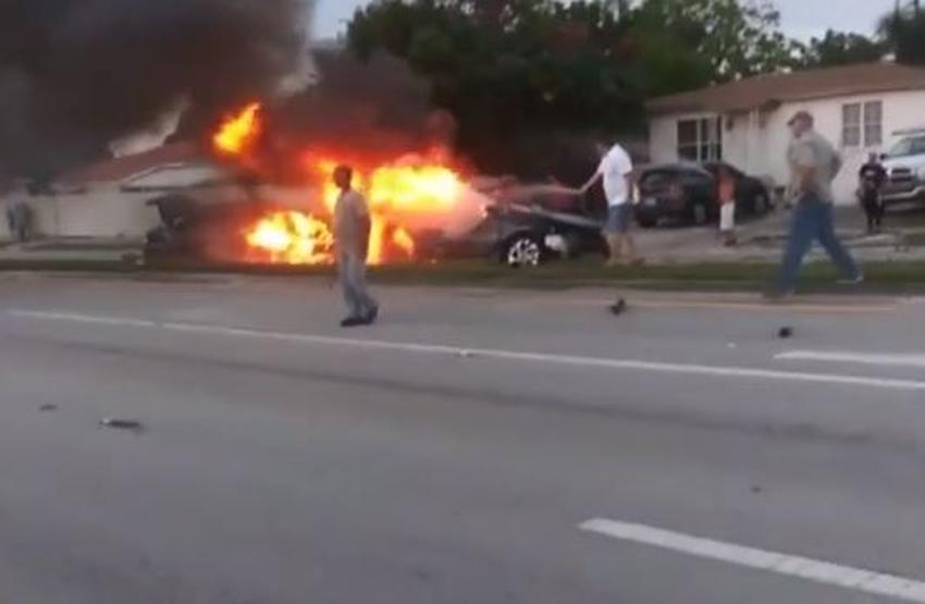 Accidente de auto en Hialeah provoca un incendio voraz; uno de los conductores muere atrapado en las llamas