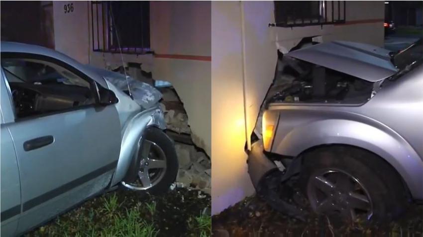 Conductor se estrella contra una casa en Miami para evitar accidente con otro vehículo