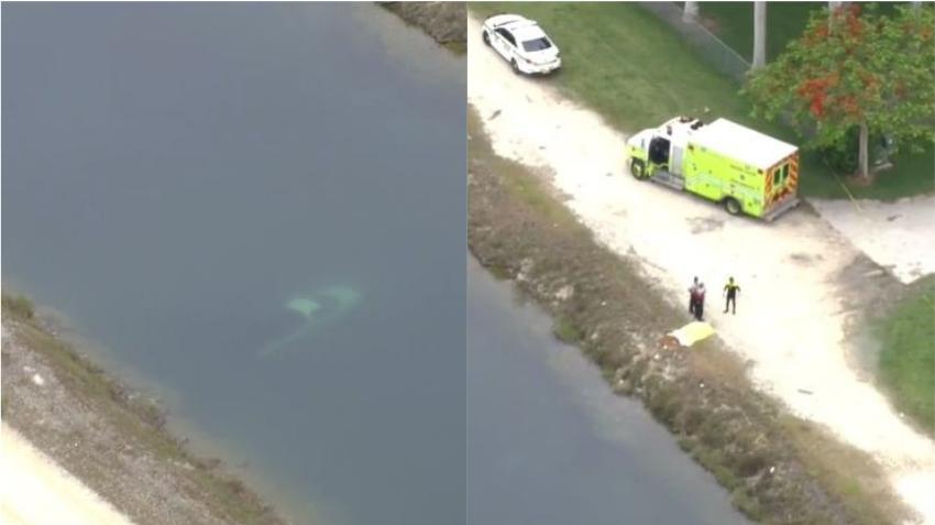 Camioneta cae al fondo de un canal en el sur de Miami Dade; encuentran a una persona muerta dentro