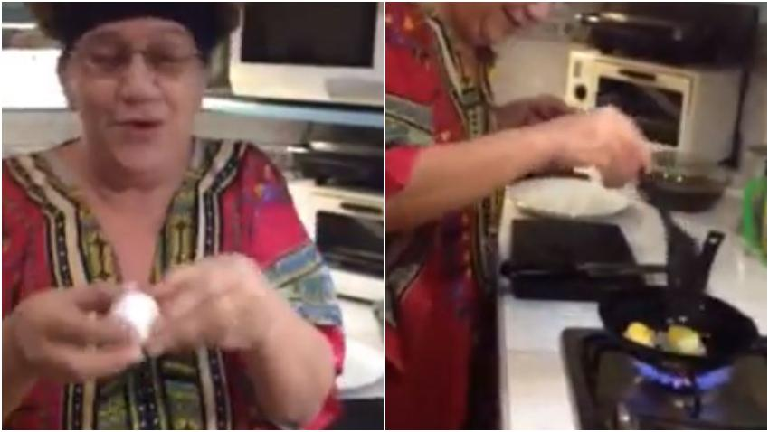 Cubana explica cómo hace para sacar dos huevos fritos de uno