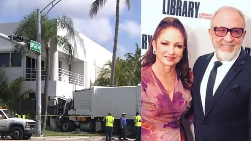 Un camión choca contra estudio de música de los Estefans en Miami