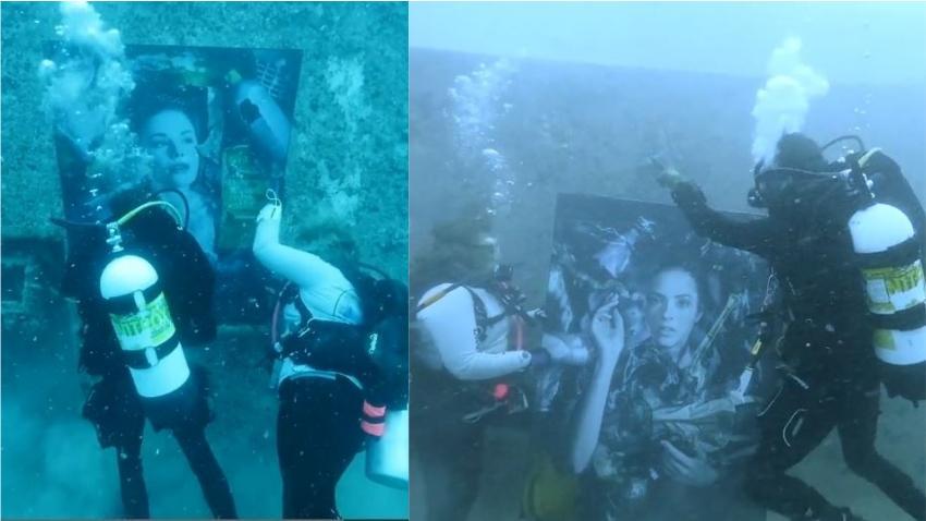 Montan exhibición de arte bajo el mar en arrecifes de los Cayos de la Florida