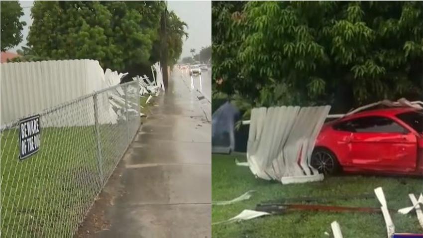 Video de vigilancia capta el momento en que un mustang choca contra un patio en Hialeah