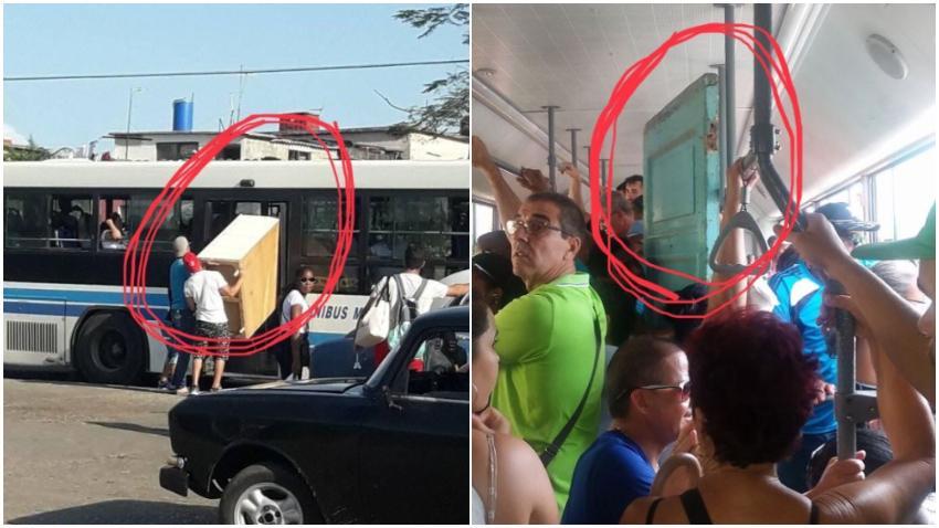 Solo en Cuba: Transportan un mueble y una puerta en una guagua de transporte público