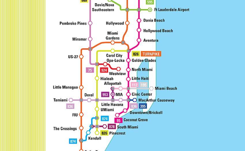 Artista neoyorquino dibuja mapa de los expressways de Miami convertido en sistema interconectado de trenes