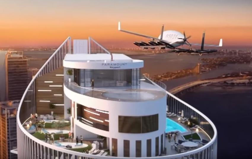 Espacio para autos voladores en el edificio Paramount Miami Worldcenter a punto de terminarse