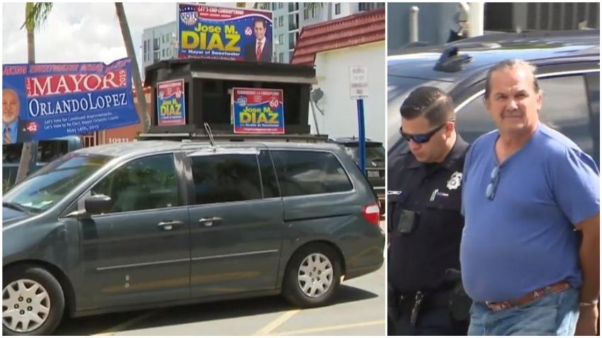 Hombre es arrestado acusado de mentir diciendo que dispararon contra su auto mientras hacía campaña por la alcaldía de Sweetwater en Miami
