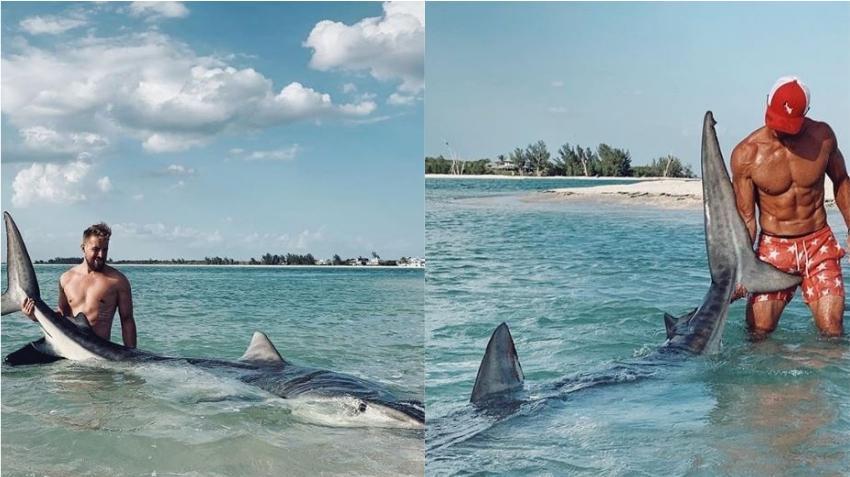 Pescador atrapa y libera inmenso tiburón tigre de 13 pies en las costas de la Florida