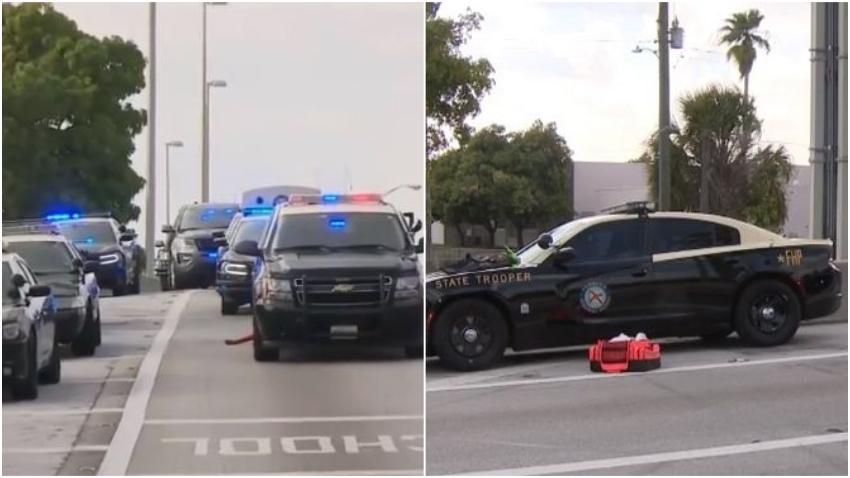 Conductor se da a la fuga luego de atropellar a un policía en la carretera en el sur de Florida