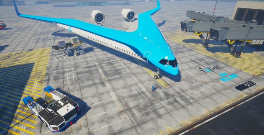 Aerolínea KLM y la Universidad Tecnológica de Delft trabajan en un avión en forma de V donde los pasajeros irían en las alas