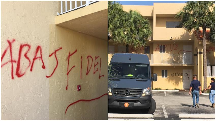 """Escriben mensaje """"Abajo Fidel"""" en un complejo de apartamentos en Hialeah"""