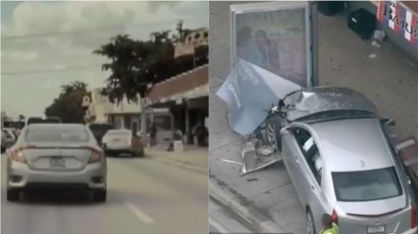 Cámara de un vehículo graba momento en que un auto choca contra una parada de autobús en Miami; se reportan dos heridos