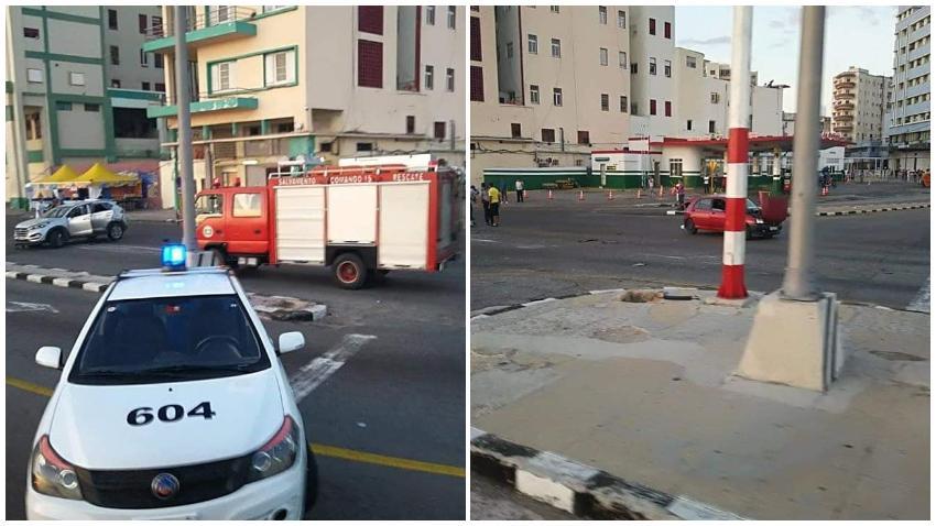 Fuerte accidente en La Habana en la intersección de las Avenidas Malecón y 23
