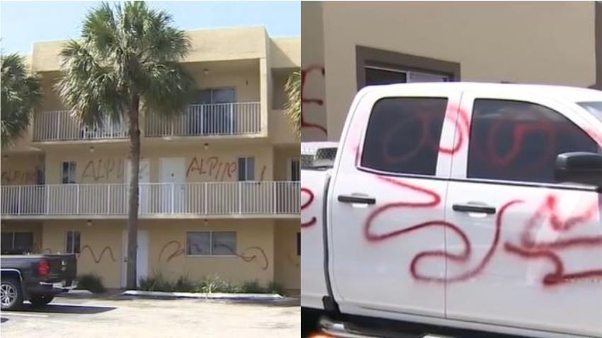 Vandalizan vehículos y pintan las paredes en un condominio en Hialeah como venganza contra compañía de remolque