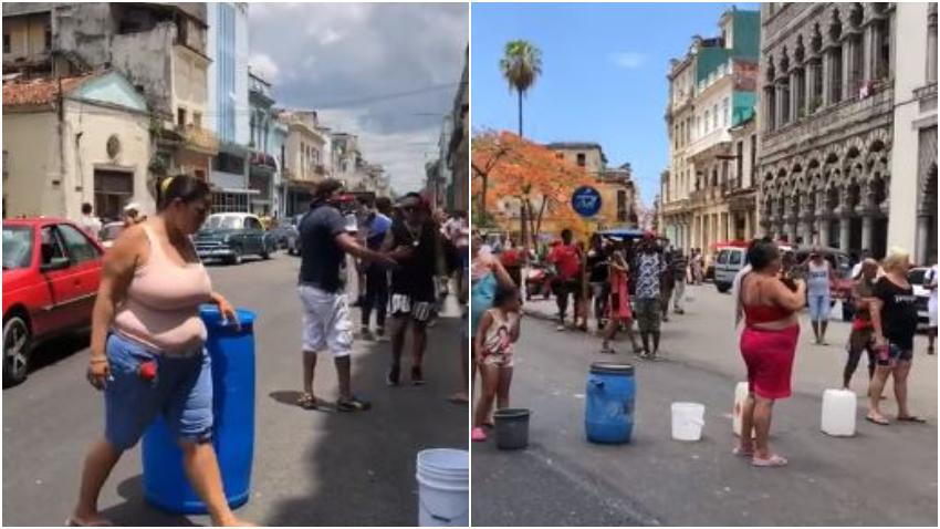 Cubanos residentes en La Habana salen a la calle a protestar por llevar 11 días sin agua