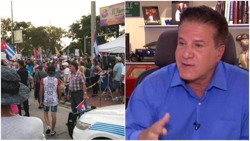Cubanos mantienen protesta contra el alcalde de Hialeah para que explique si dinero de los impuestos de la ciudad han ido a parar a músicos cubanos vinculados a Cuba