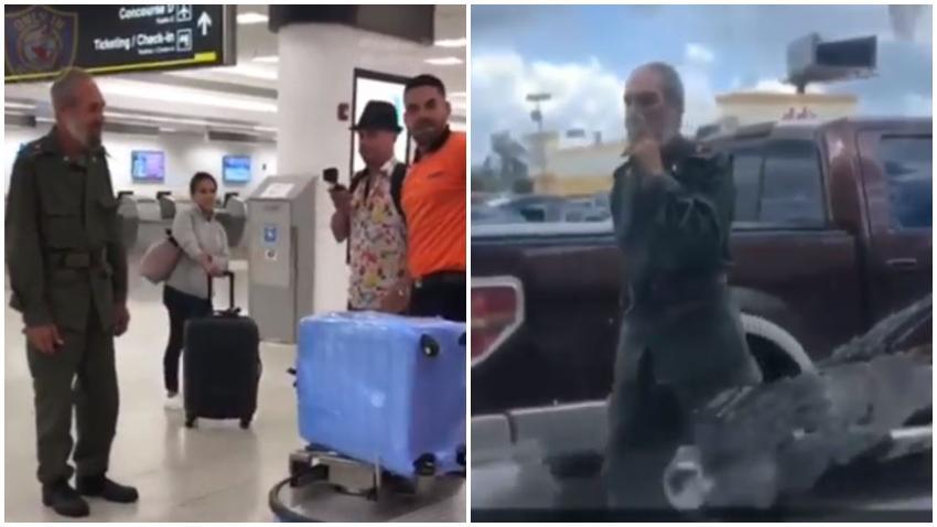 Hombre disfrazado de Fidel Castro se pasea por el aeropuerto de Miami y por Hialeah