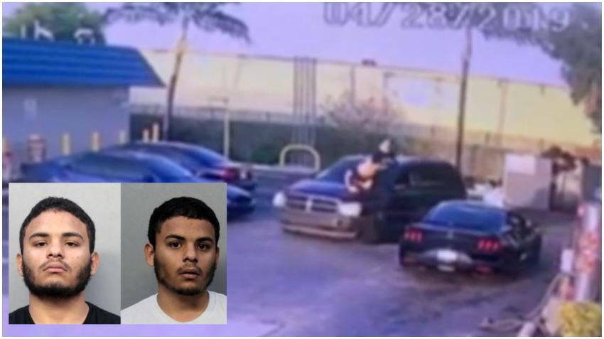 Hermanos gemelos en Hialeah atacan a una persona en un vehículo con un bate