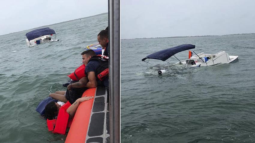 La Guardia Costera rescata a 12 personas de un bote que se hundía cerca de la costa en Islamorada