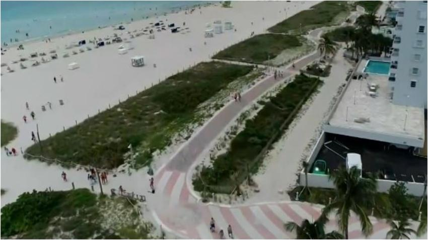 Miami Beach estrena nuevo paseo peatonal en la playa desde South Pointe hasta la calle 79