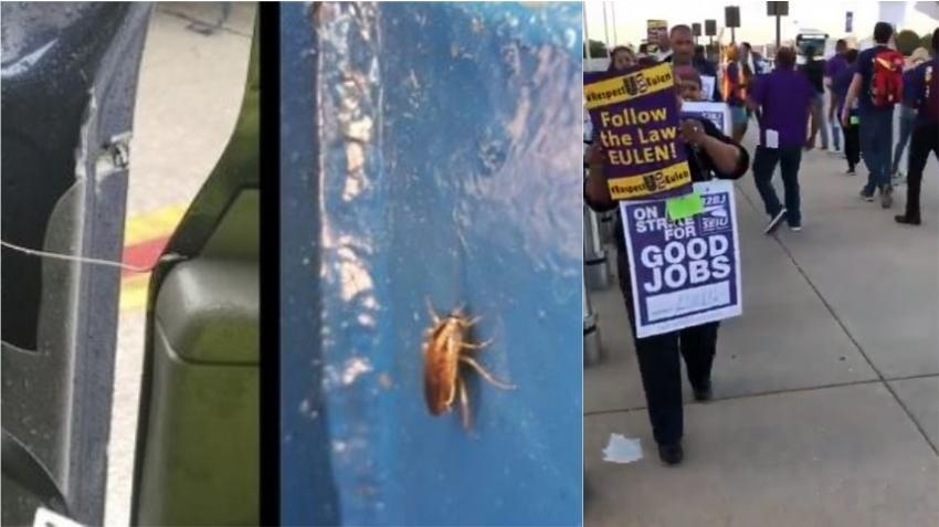 """Trabajadores protestan condiciones laborales """"insoportables"""" en el Aeropuerto de Miami"""