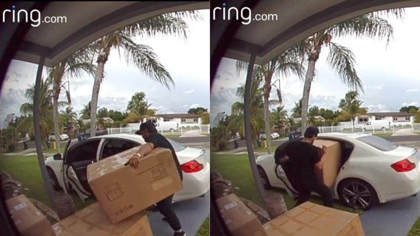 Cámara de seguridad capta momento en un hombre roba un paquete de gran tamaño de un portal en Miami