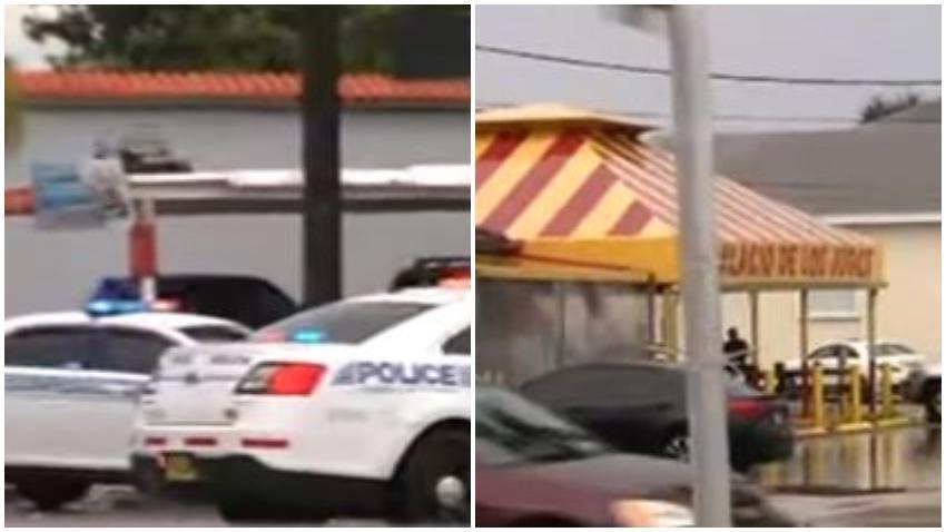 Tiroteo frente al Palacio de los Jugos en la calle Flagler; la policía acordona el área