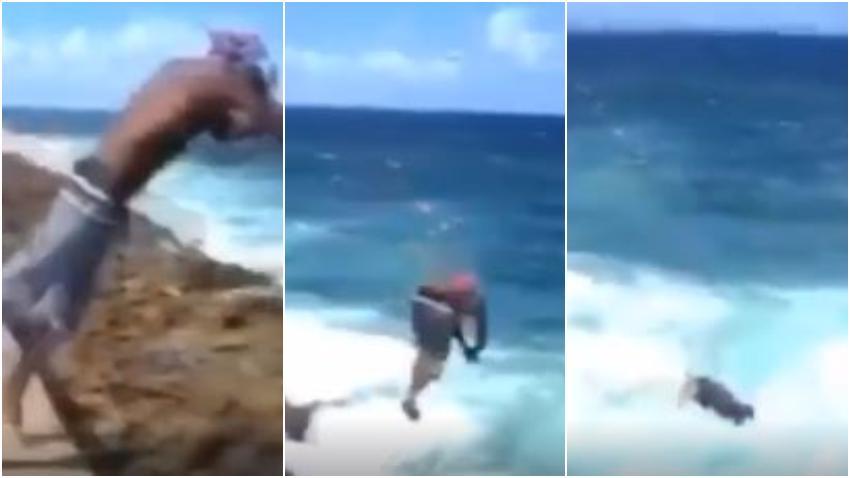 Cubano realiza espectacular y peligroso salto en el malecón de La Habana