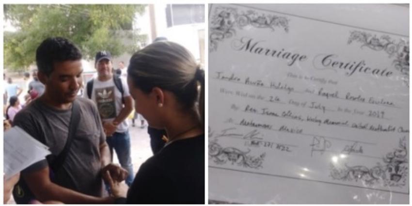 Cubanos se casan en las inmediaciones del Río Bravo, un sacerdote estadounidense ofició la ceremonia
