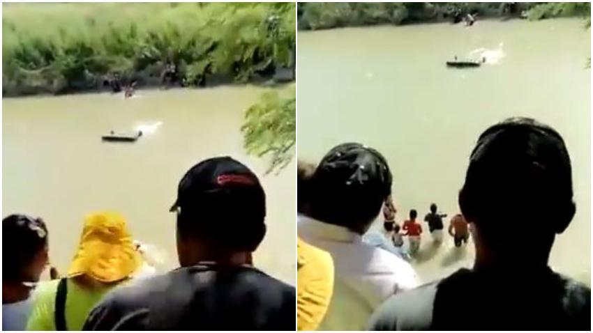 Grupo de cubanos junto a hondureños usaron colchones inflables para intentar cruzar el río Bravo rumbo a Estados Unidos