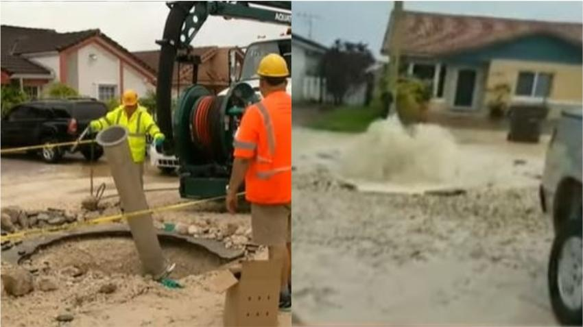 Tormentas en Hialeah provocaron la rotura de una tubería de agua que afectó a casi 30 viviendas; y vecinos denunciaron problemas con el alcantarillado