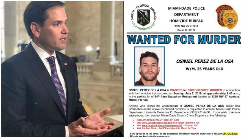Senador cubanoamericano Marco Rubio pide ayuda para capturar al asesino de una joven cubana asesinada en Miami, el sospechoso se cree que escapó a Cuba