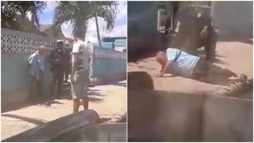 Denuncian abuso policial en Cuba: Un policía lanza al piso a una persona mayor