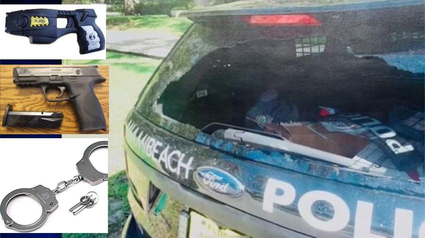 Atrevidos ladrones rompen ventana de una patrulla de la Policía de Miami Beach y se llevan el cinturón del oficial con la pistola