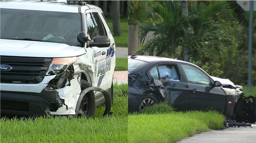 Oficial de la policía involucrado en accidente de tránsito en Miami Springs