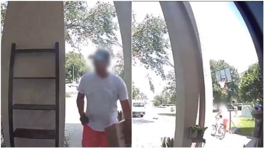 En cámara como un repartidor entrega un paquete de Amazon pero se marcha con una bicicleta