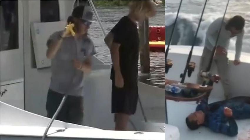 Dos hombres hablan sobre como rescataron a un hombre mordido por un tiburón cerca de la costa de Key Biscayne