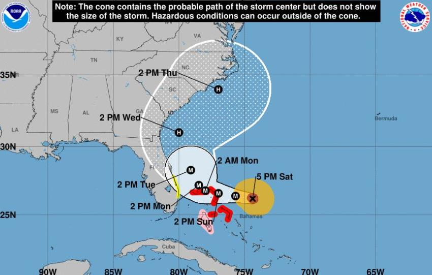 Decretan vigilancia de tormenta tropical en partes de Florida ante el avance del huracán Dorian