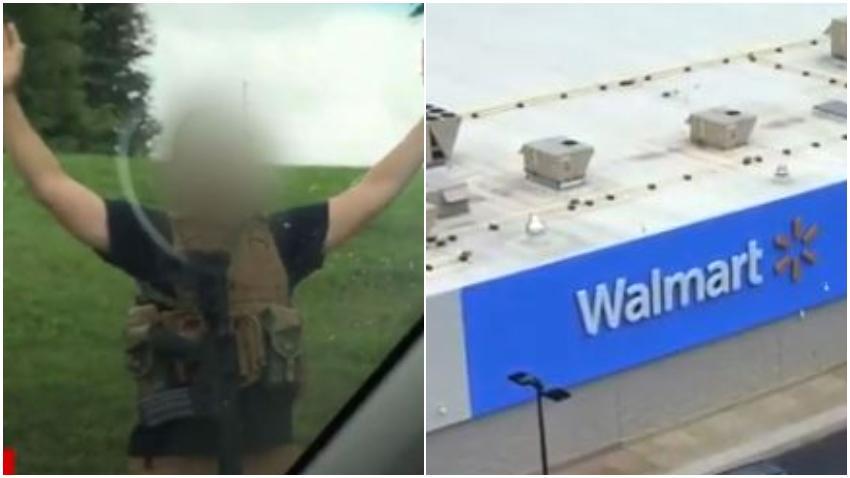 Caos en supermercado Walmart después que un joven entrara armado y con un chaleco antibalas