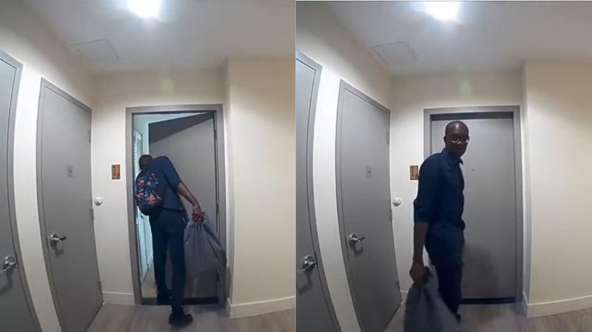En cámara un hombre va revisando las puertas de varios apartamentos en dos edificios de lujos en el centro de Miami