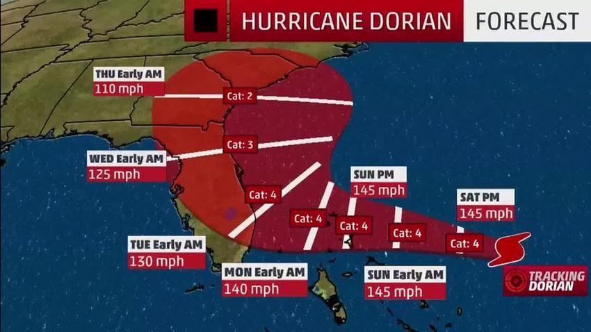 Huracán Dorian mantiene su categoría 4 pero deja a Miami fuera del cono de trayectoria