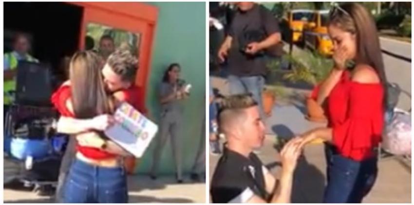 Joven cubano le pide matrimonio a su novia al salir del aeropuerto en la Isla