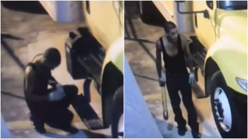 Policía de Miami busca a ladrón de baterías de camiones