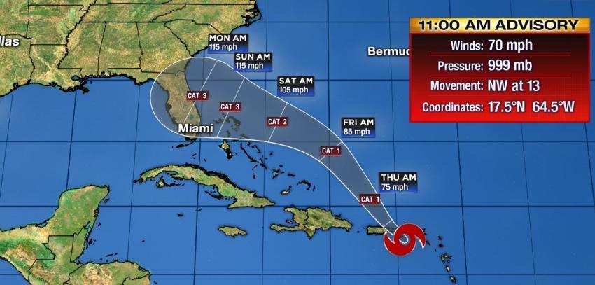 Tormenta tropical Dorian podría impactar la Florida como un poderoso huracán categoría 3
