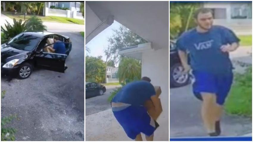Policía busca a hombre captado en cámara robando paquetes de una casa en el suroeste de Miami