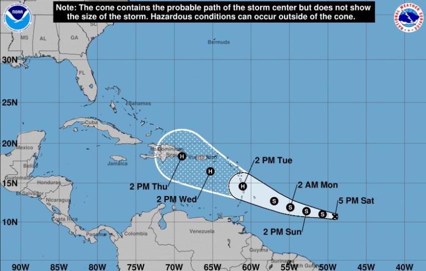 Se forma la tormenta tropical Dorian y se espera que se convierta en huracán mientras se acerca al Caribe