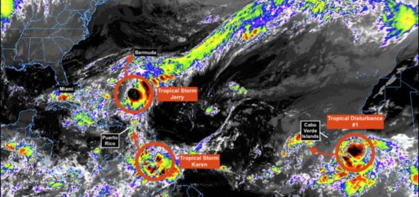 Tormenta tropical Karen en el Océano Atlántico amenaza al Caribe